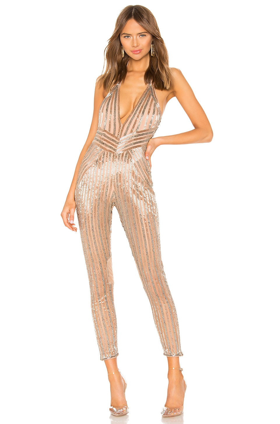 X by NBD Vanessa Jumpsuit in Silver & Champagne