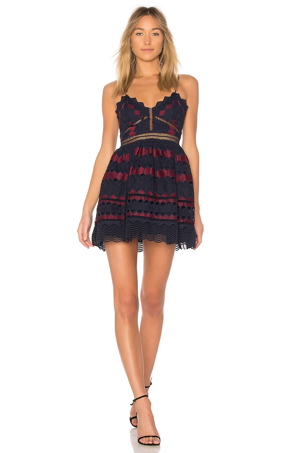 X by NBD Pearl Dress in Navy & Red