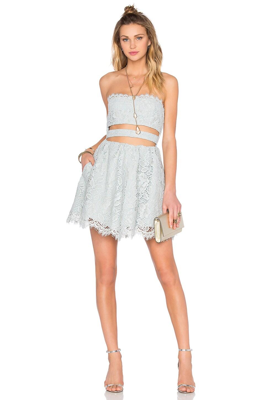 X by NBD Lia Fit & Flare Dress in Dusty Blue