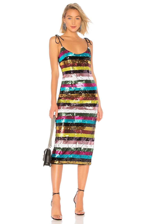 X by NBD Desdemonda Embellished Midi Dress in Multi Colors