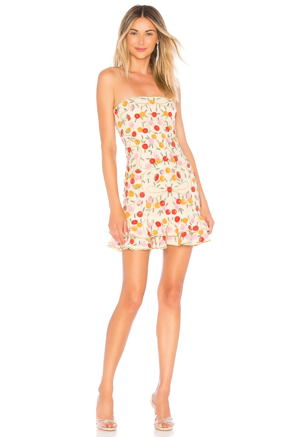 X by NBD Tammy Embellished Mini Dress in Nude & Pink