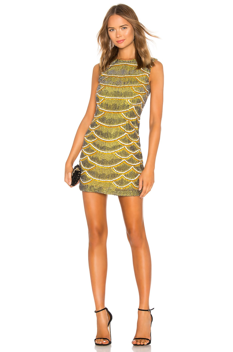 X by NBD Monty Embellished Python Mini Dress in Yellow
