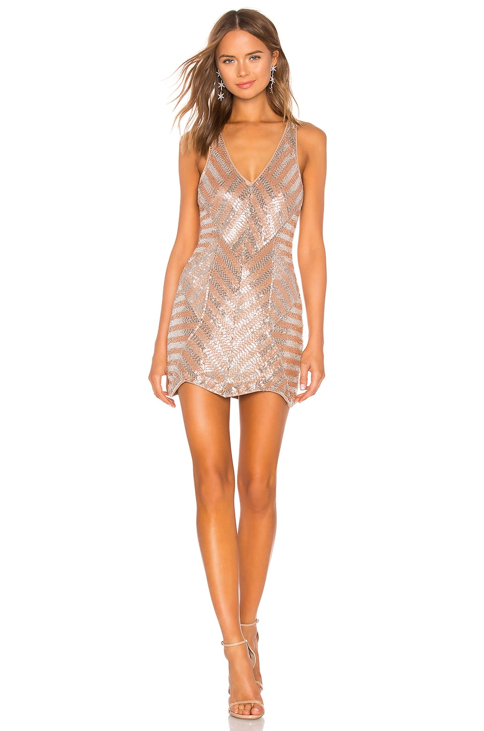 X by NBD Europa Embellished Mini Dress in Champagne & Silver