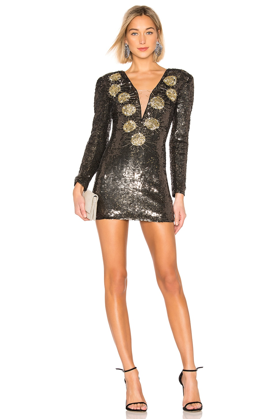 X by NBD Bryson Embellished Mini Dress in Pewter & Gold