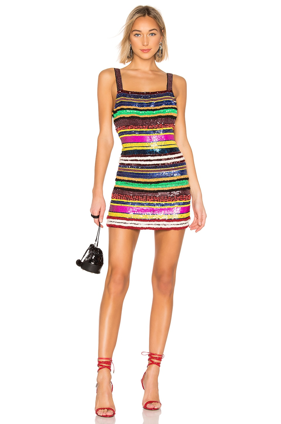 X by NBD Diane Embellished Mini Dress in Multi Colors