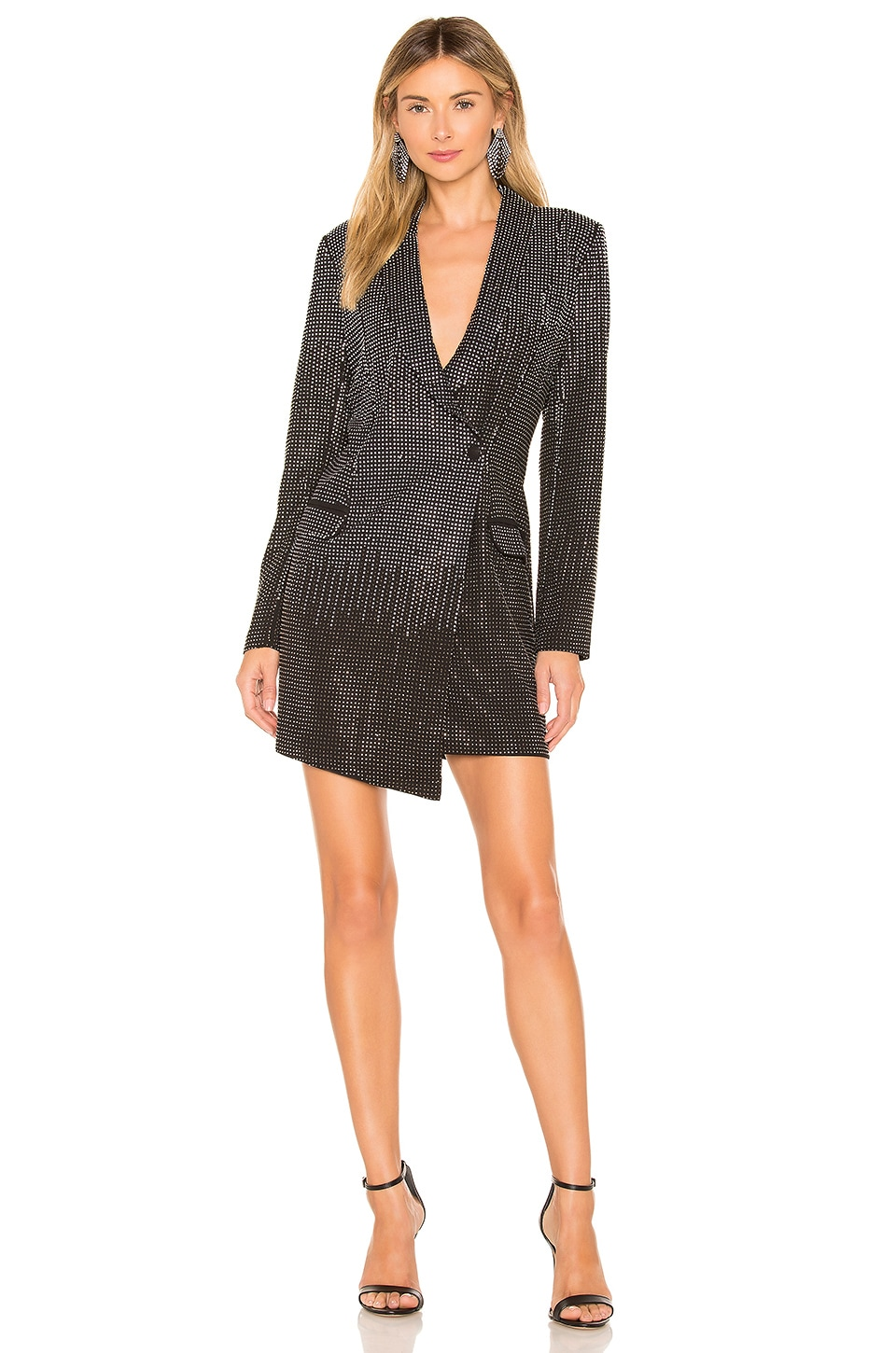 X by NBD Baddie Tux Dress in Black Ombre