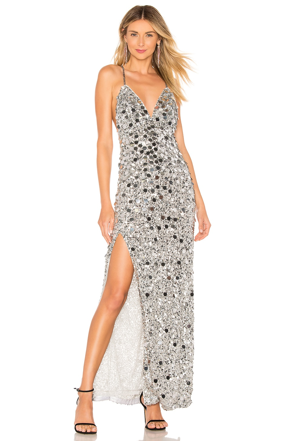 X by NBD Presley Embellished Gown in Silver