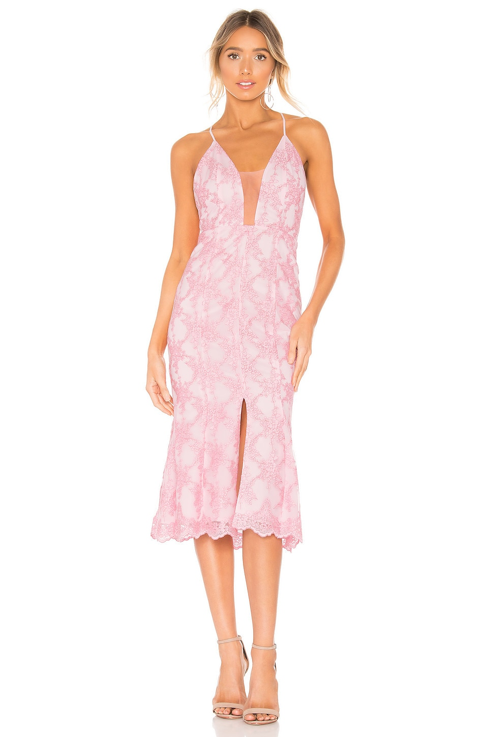 X by NBD Sandra Midi Dress in Light Pink