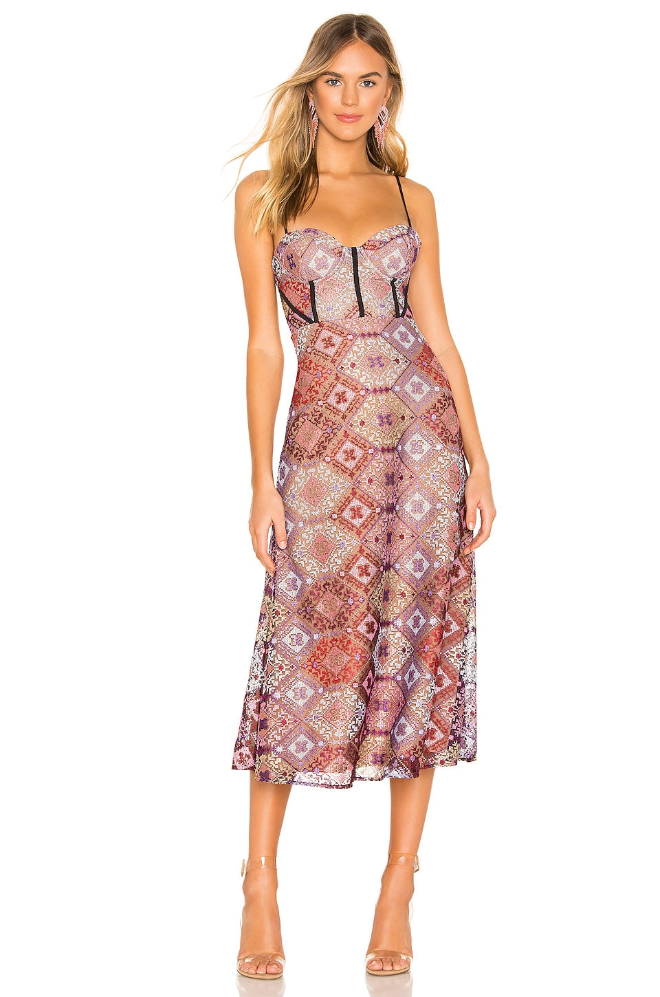 X by NBD Delylah Midi Dress in Pink & Red