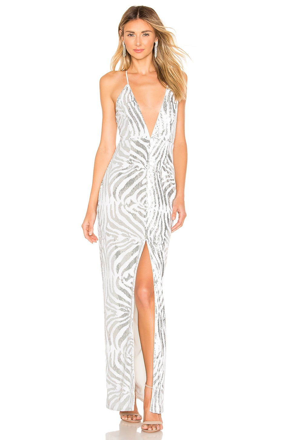 X by NBD Yoshi Gown in Silver & White