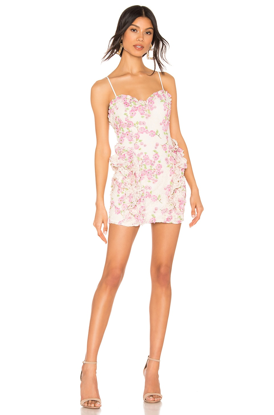 X by NBD Lovely Mini Dress in Pink & Ivory Ground