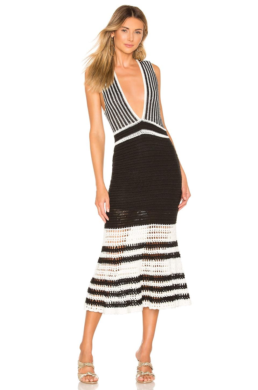 X by NBD Lana Midi Dress in Black & Ivory