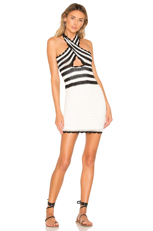 X by NBD Lana Mini Dress in Black & Ivory