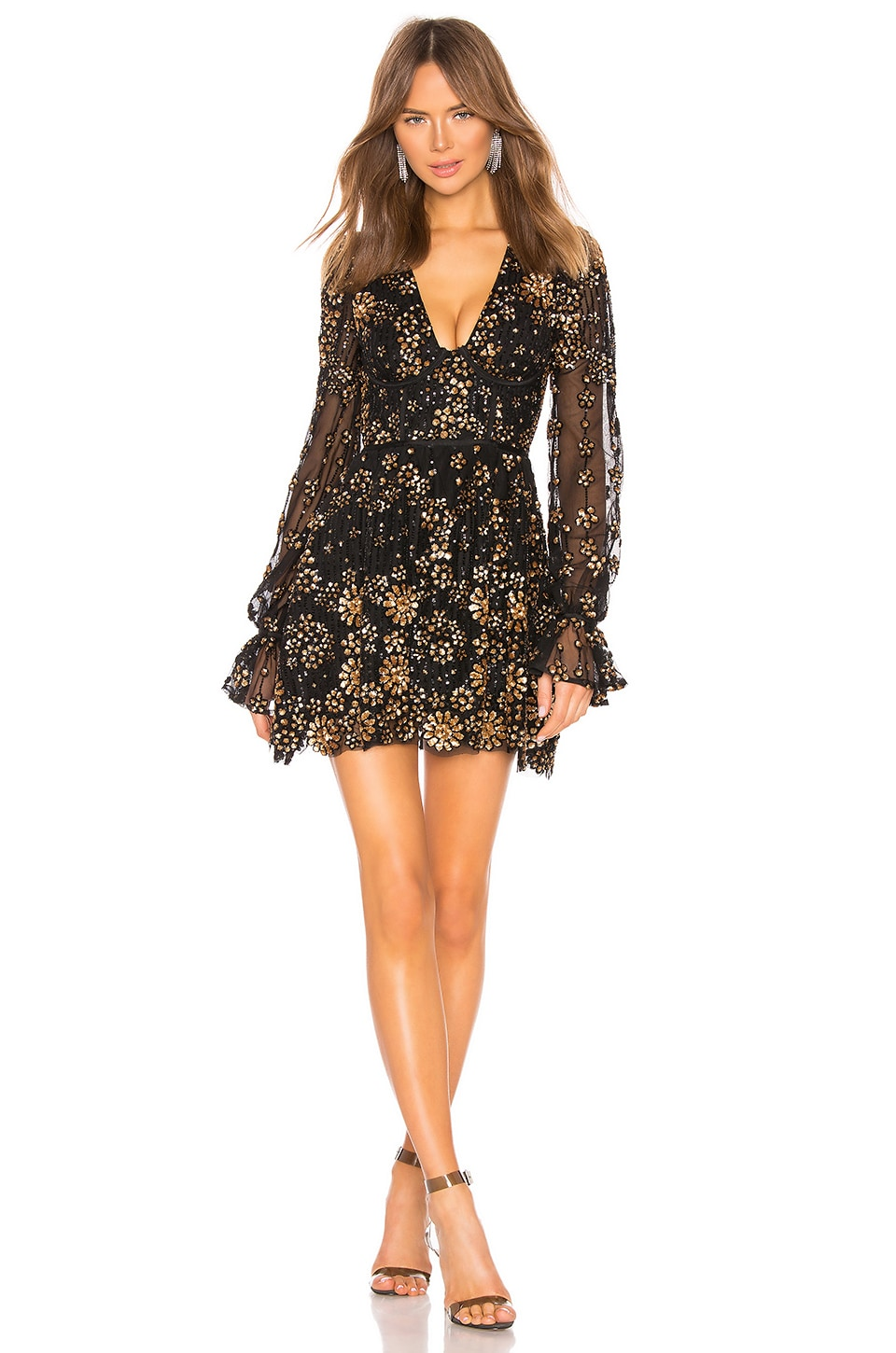 X by NBD Journey Embellished Mini Dress in Gold & Black