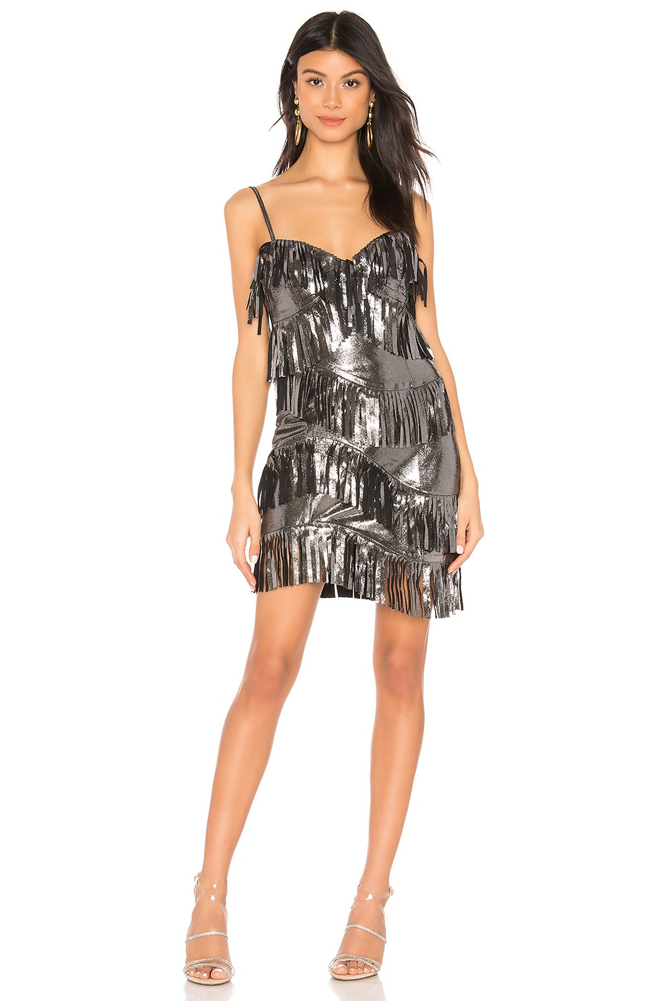 X by NBD Cristal Metallic Dress in Silver