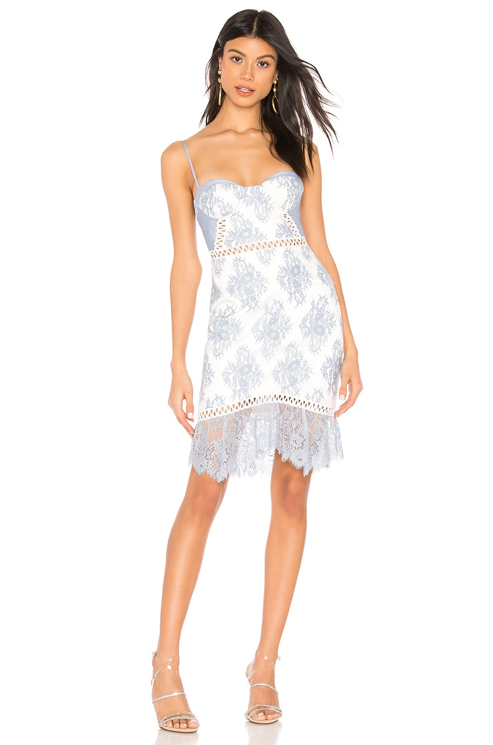 X by NBD Timantha Mini Dress in Baby Blue & White