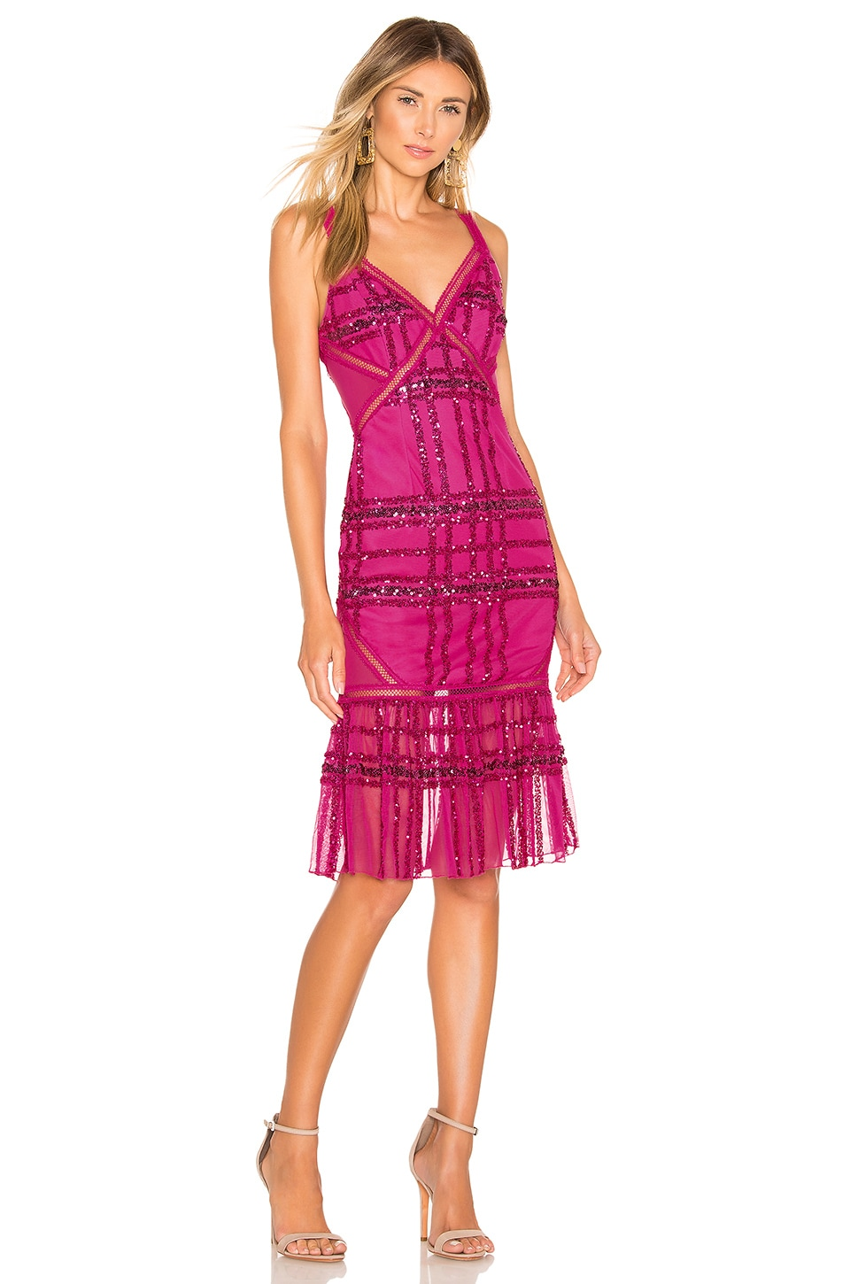 X by NBD Sadie Midi Dress in Fuchsia