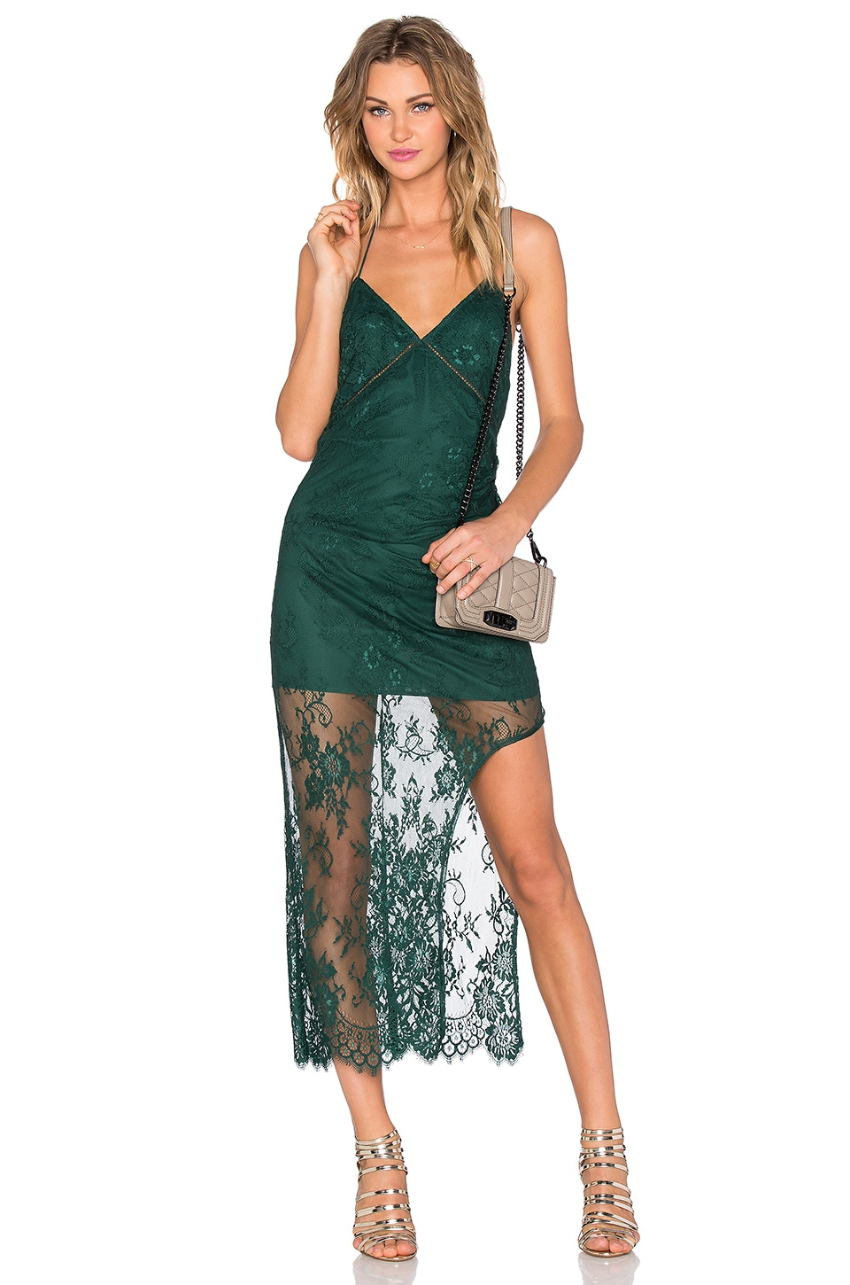 X by NBD Ellie Dress in Hunter Green