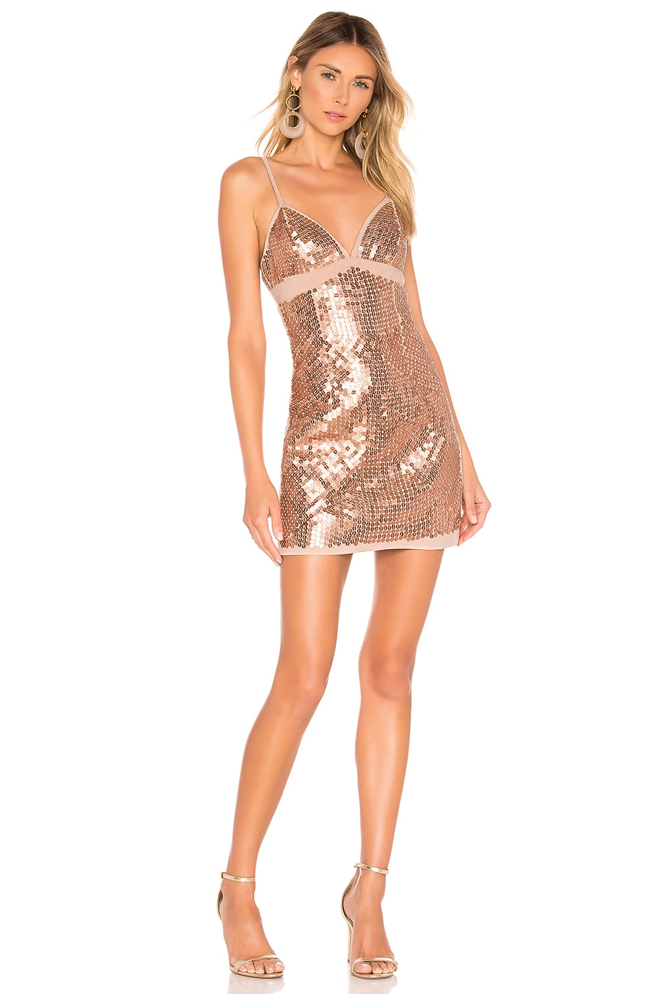 X By Nbd Shain Embellished Mini Dress In Nude Rose Gold Revolve