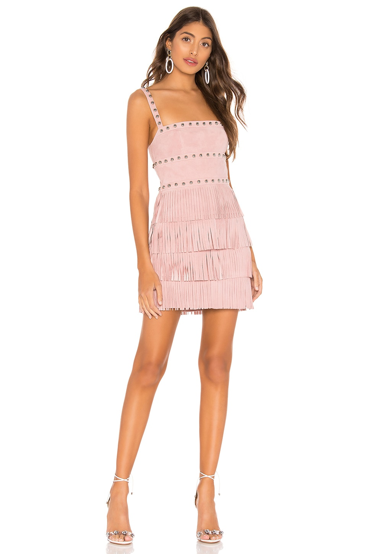 X by NBD Dusty Suede Mini Dress in Light Pink