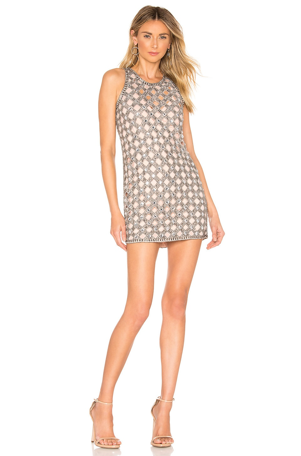 X by NBD Travis Embellished Mini Dress in Nude