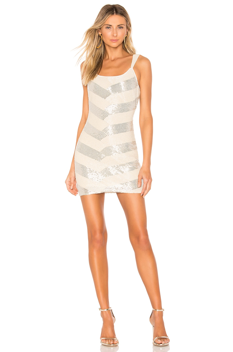 X by NBD Montserrat Embellished Mini Dress in White and Silver