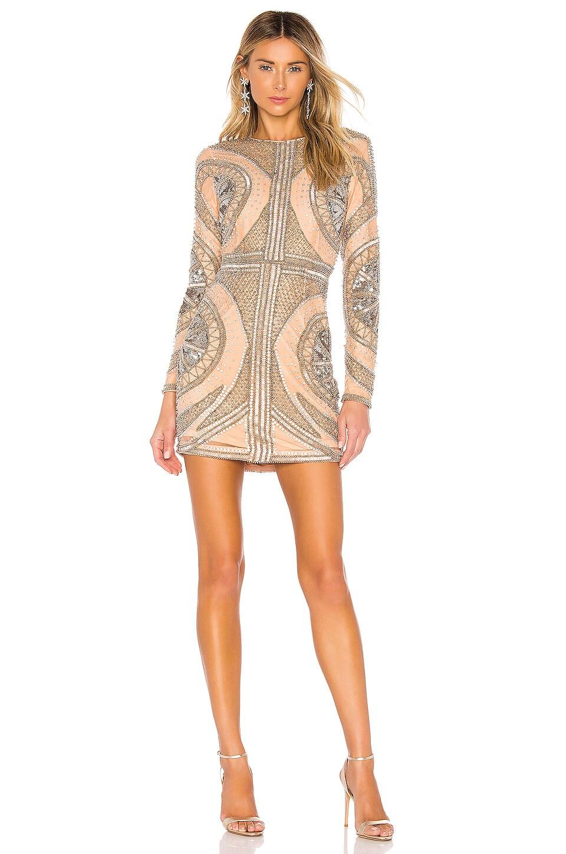 NBD Whitney Embellished Mini Dress in Pewter & Nude