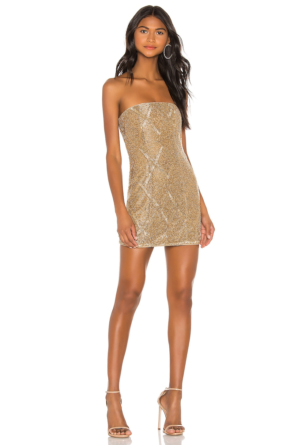 X by NBD Jean Embellished Mini Dress in Light Gold