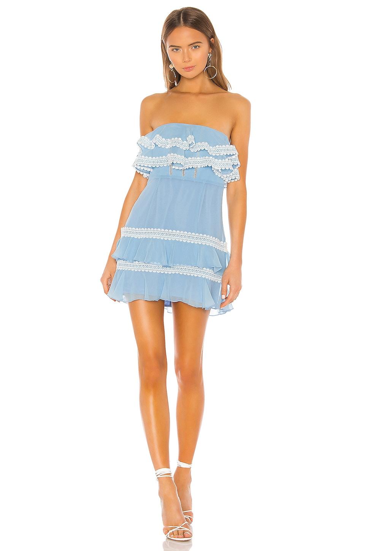 X by NBD Diana Mini Dress in Baby Blue & White