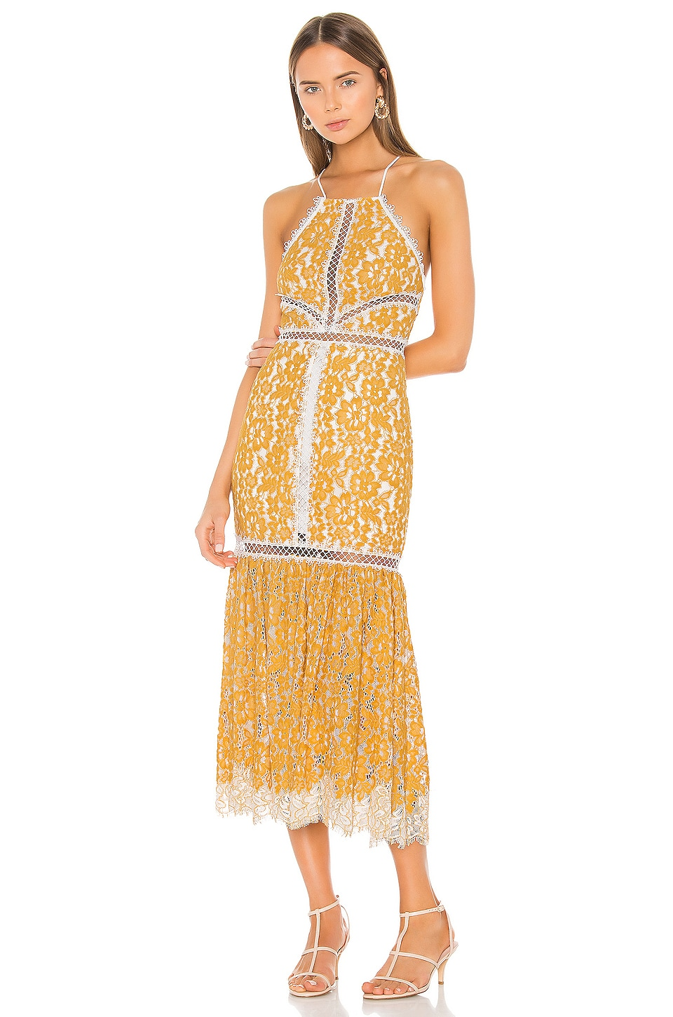 X by NBD Felicity Embroidered Dress in Yellow & Ivory