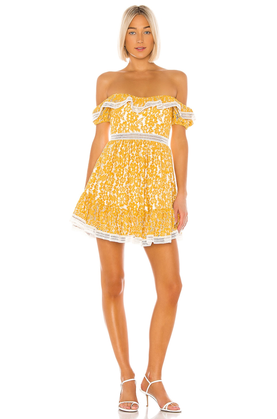 X by NBD Bazzi Mini Dress in Yellow & Ivory