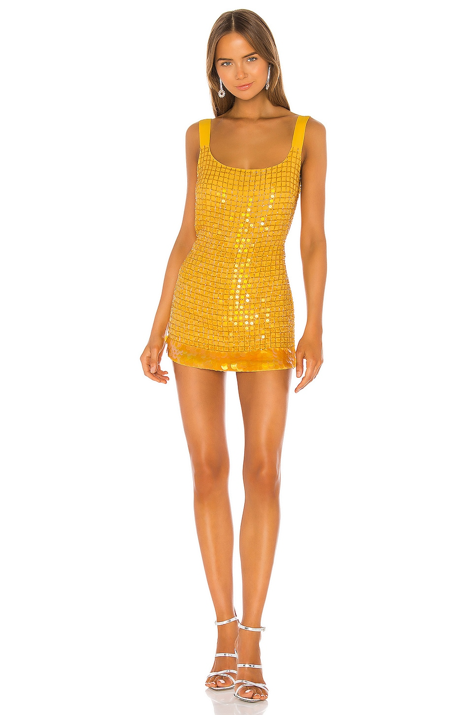 X by NBD Beatriz Embellished Dress in Golden Yellow