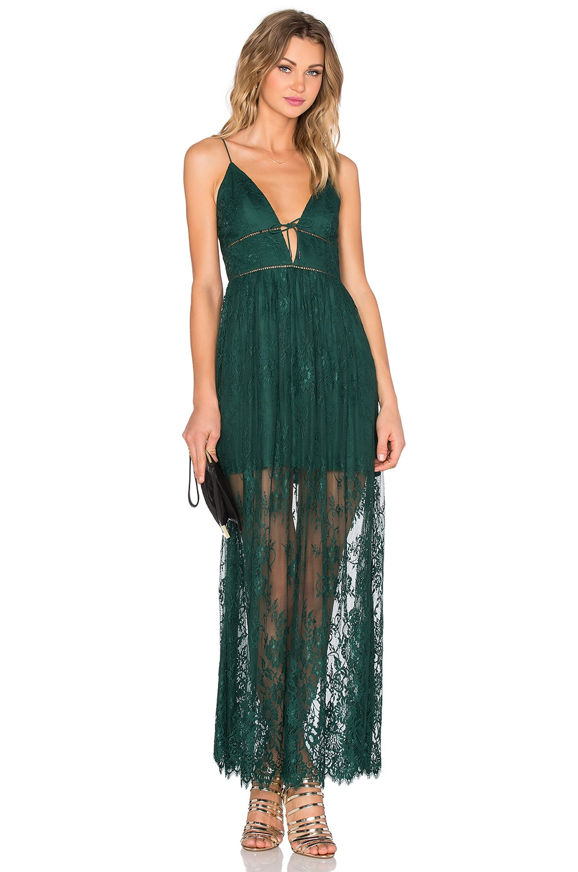 X by NBD Stella Dress in Hunter Green