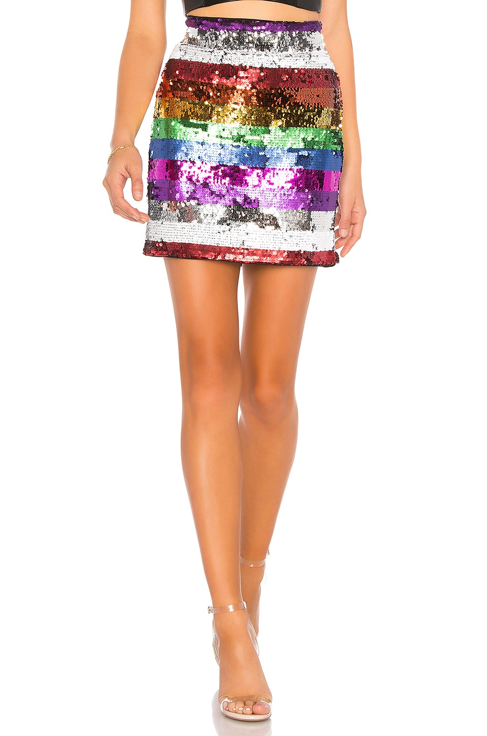X by NBD Meow Embellished Skirt in Rainbow