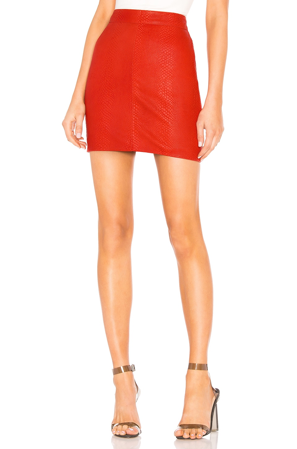X by NBD Mishka Leather Mini Skirt in Red