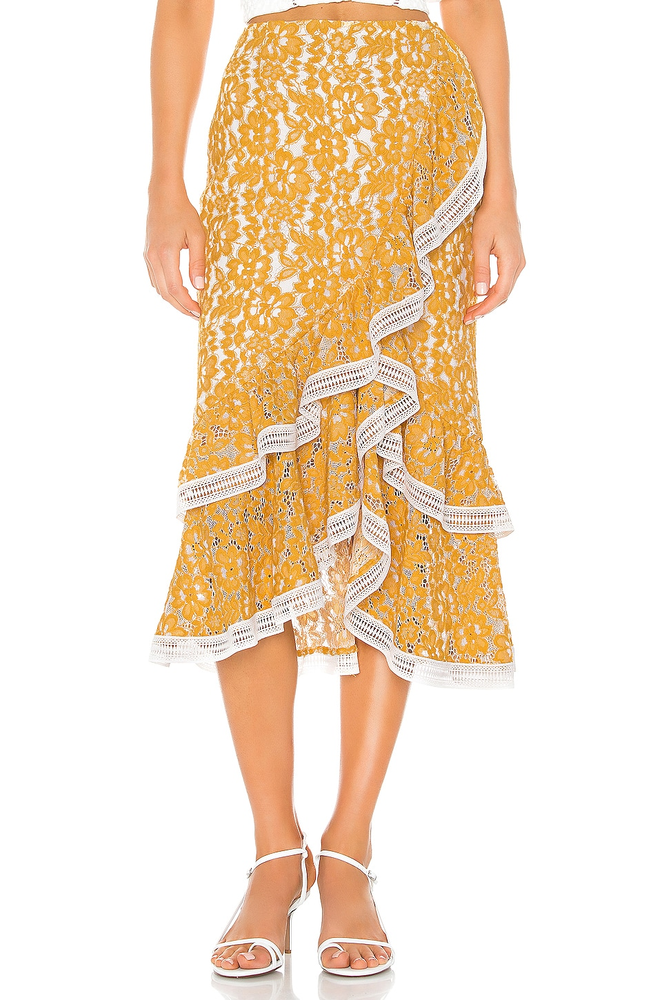 X by NBD Bazzi Midi Skirt in Yellow & Ivory