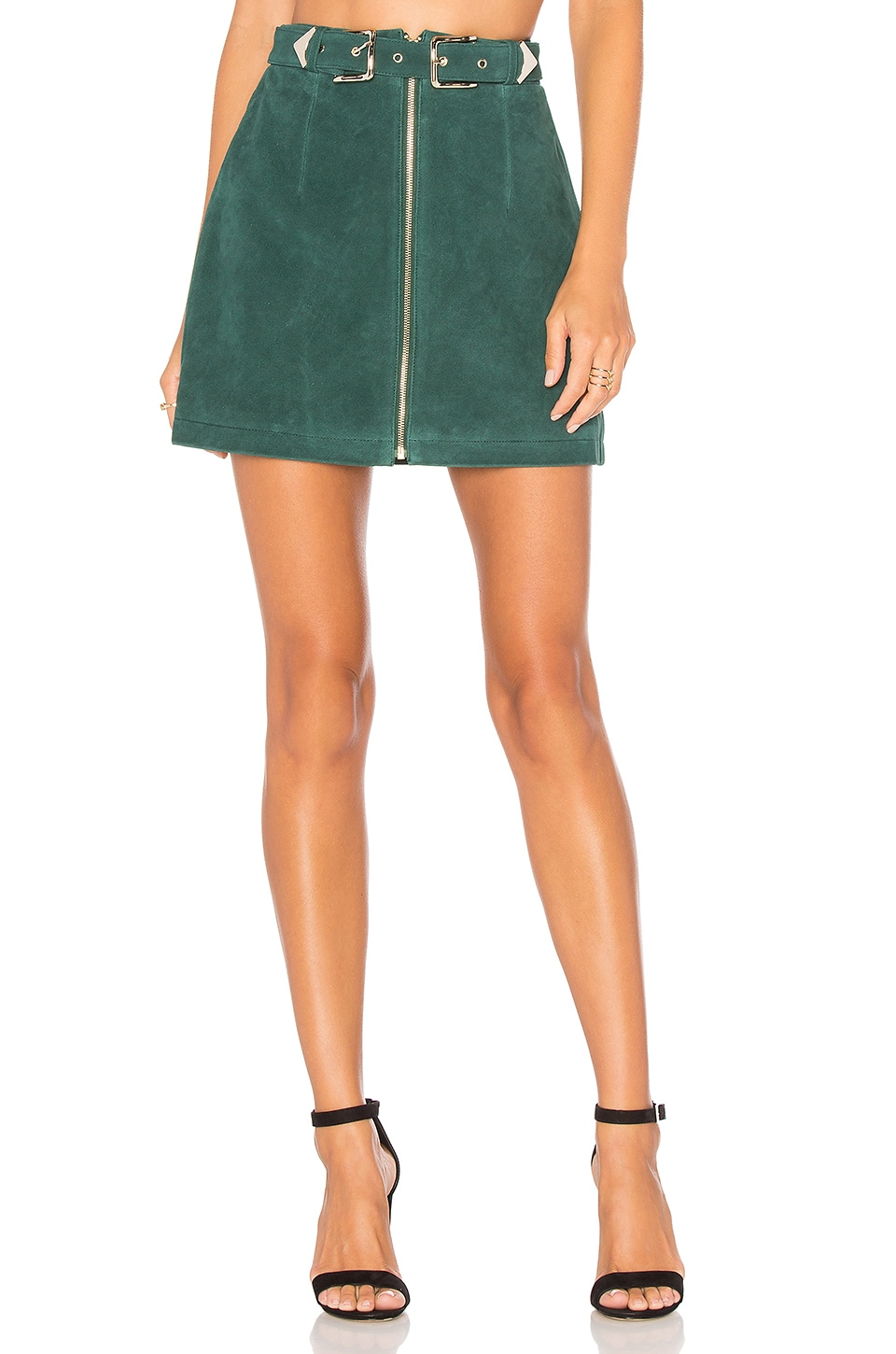 X by NBD Elise Skirt in Petrol Green