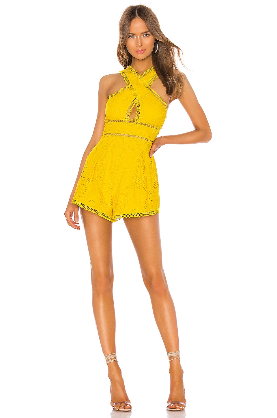 X by NBD Dreslin Romper in Beeswax Yellow