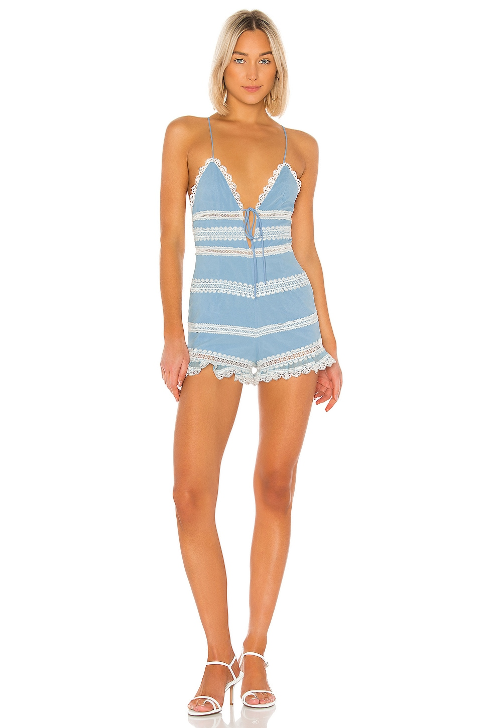 X by NBD Malani Romper in Baby Blue & White