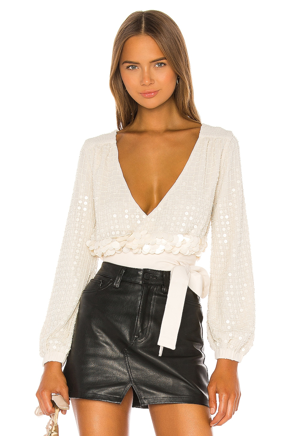 X by NBD Bea Embellished Top in Sand Ivory
