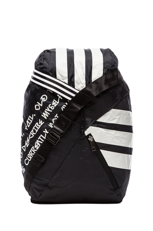 Y-3 Yohji Yamamoto Stripe Backpack in Y-3 Black