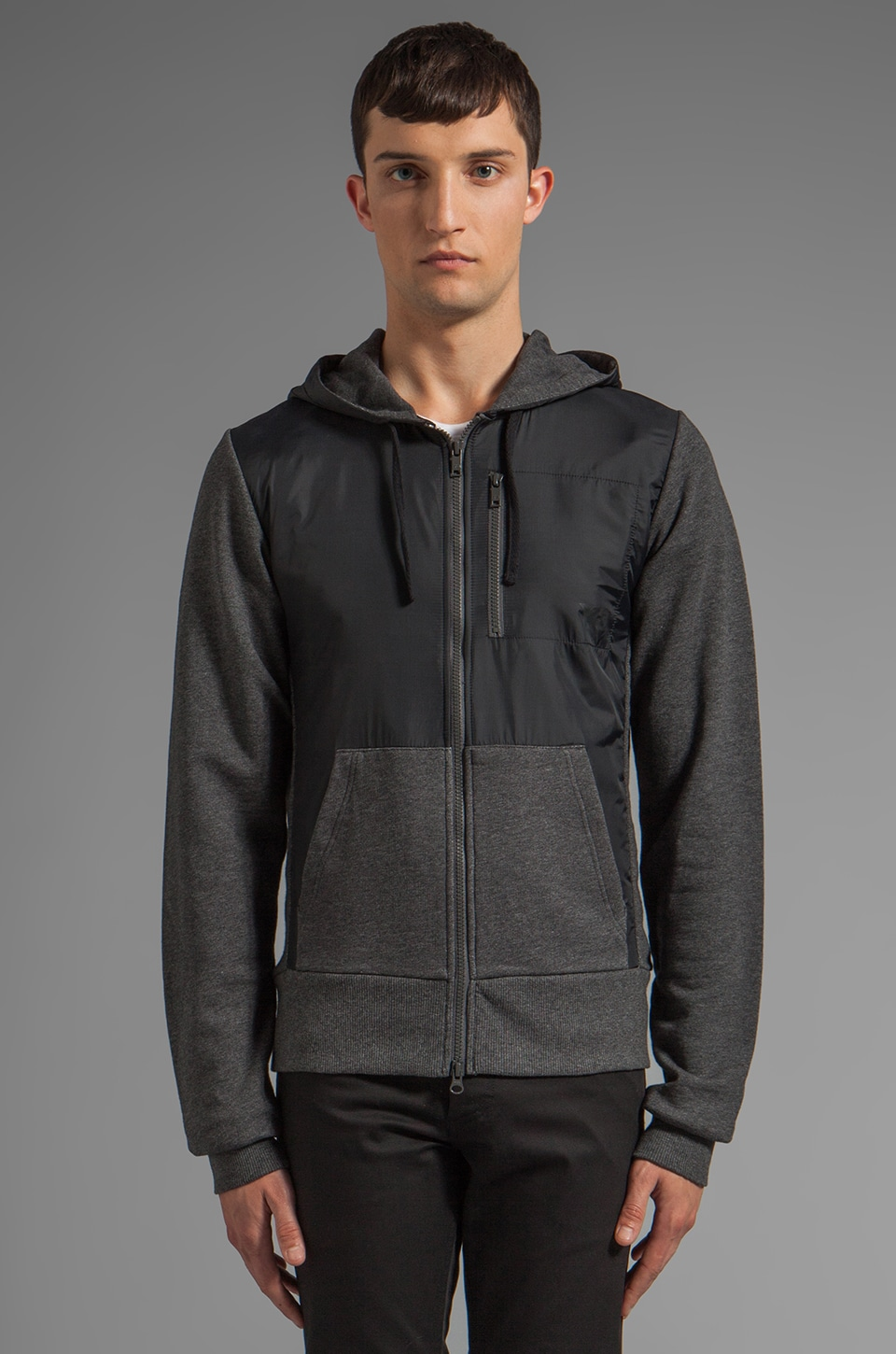 Y-3 Yohji Yamamoto Color Block Hoody in Charcoal Melange/ Black