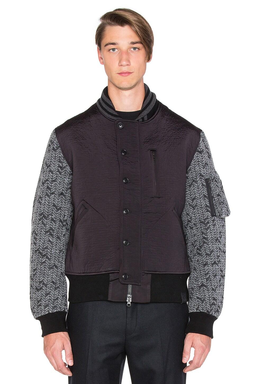 Y-3 Yohji Yamamoto 3L Wool Flight Jacket in Black Charcoal Melange ...