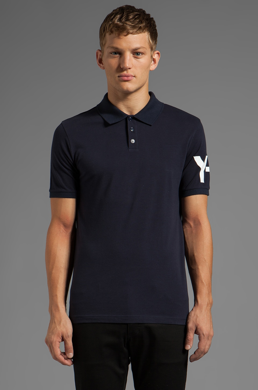 Y-3 Yohji Yamamoto Logo Polo in Navy/Black