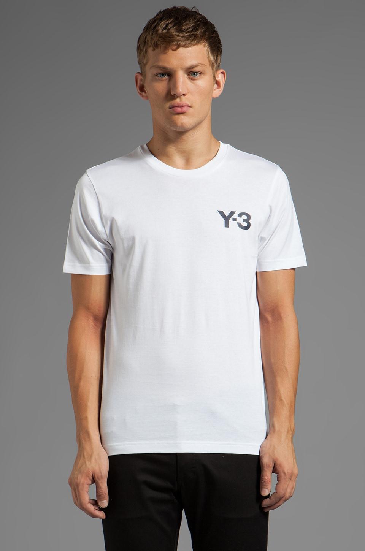 Y-3 Yohji Yamamoto Logo Tee in White/Navy