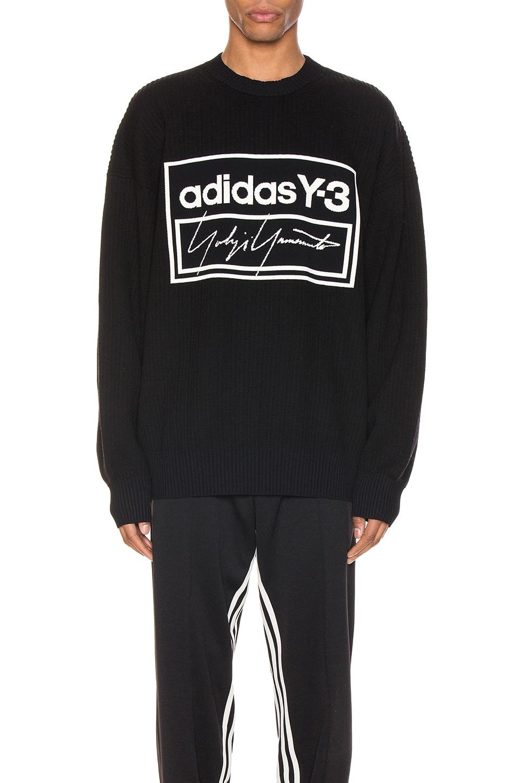 Y-3 Yohji Yamamoto Tech Knit Crew Sweater in Black & Ecru