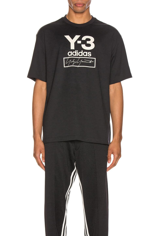 Y-3 Yohji Yamamoto Stacked Logo Tee in Black