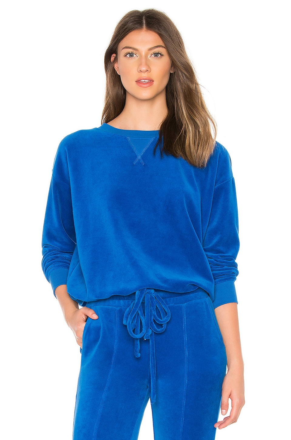 YEAR OF OURS Velour Stephanie Sweatshirt in Royal