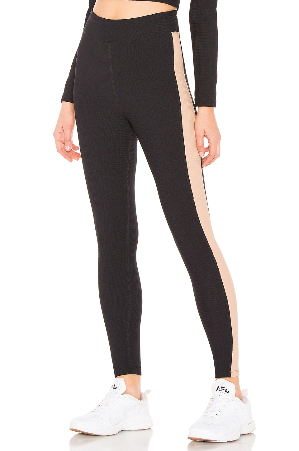 YEAR OF OURS Thermal Track Legging in Black & Tan