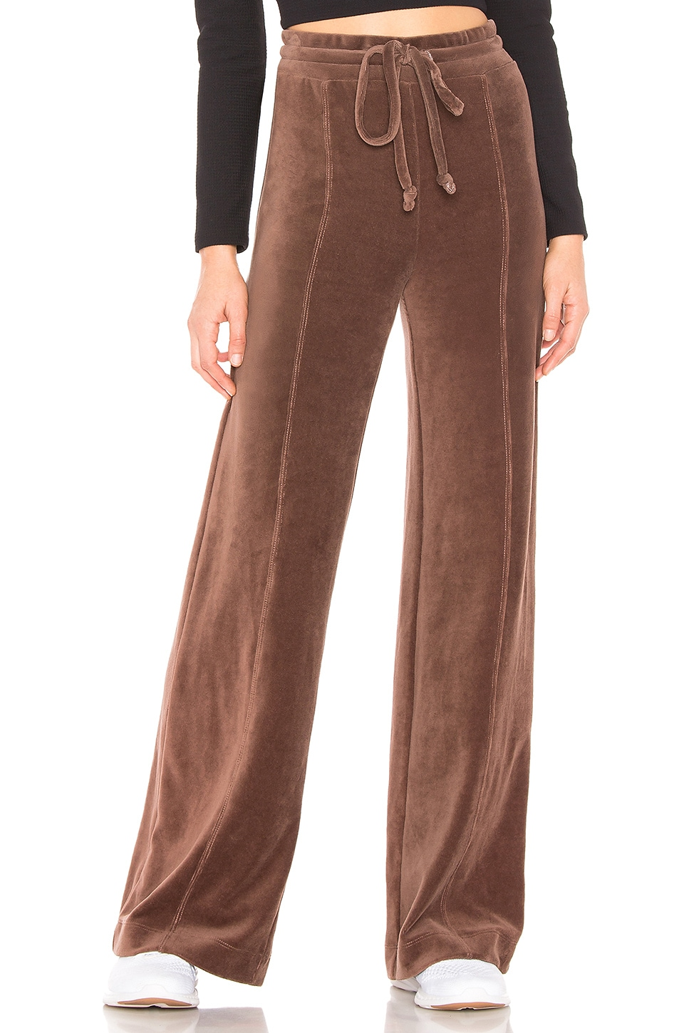 YEAR OF OURS Velour Warm Up Pants in Brown